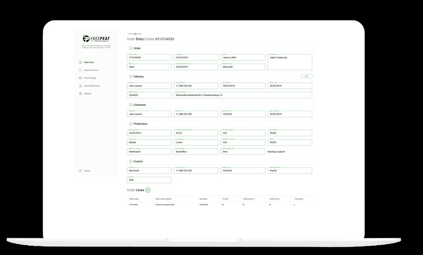 Order Entry Verkooporder Portal 2