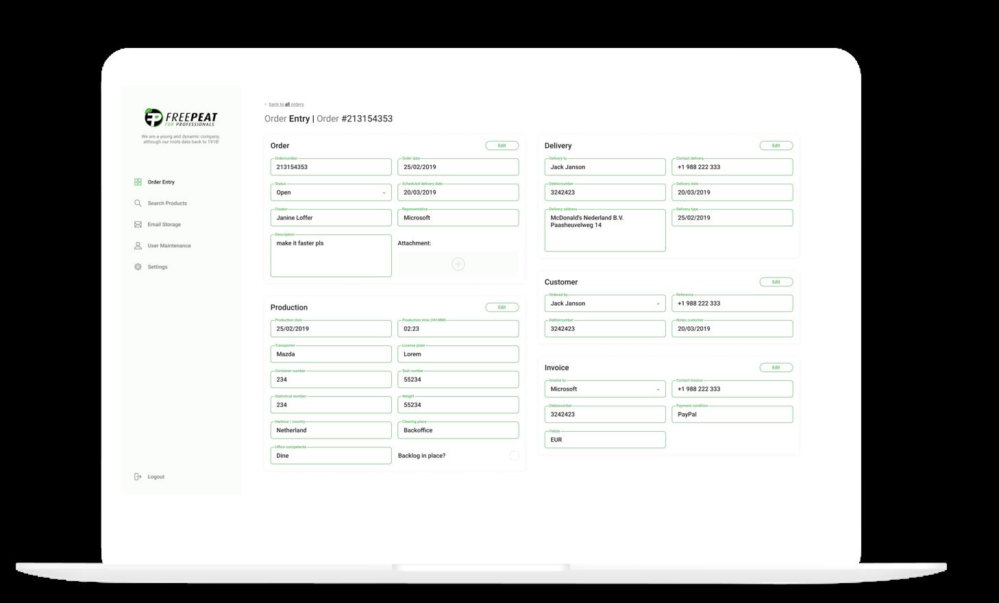 Order Entry Verkooporder Portal