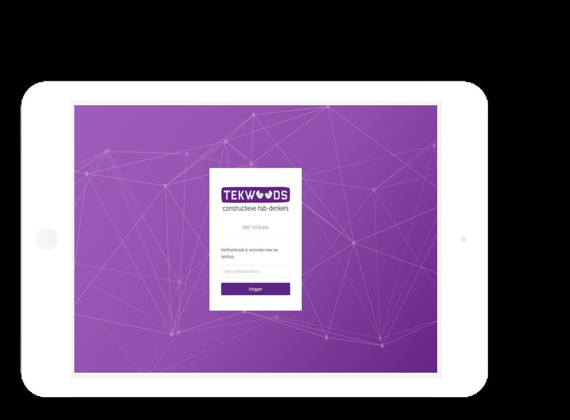 inlog sms verificatie Tekwoods tablet
